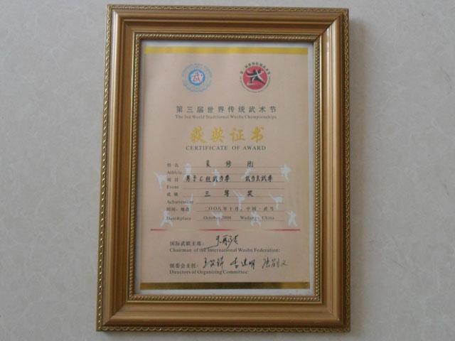 武术节获奖证书
